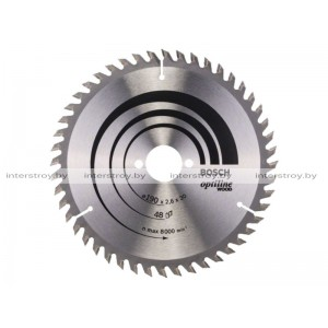 Диск пильный 190х30 мм 48 зуб. по дереву OPTILINE WOOD BOSCH -3165140194112