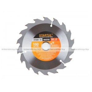 Диск пильный 160х20/16 мм 18 зуб. по дереву STARTUL -5293577506111