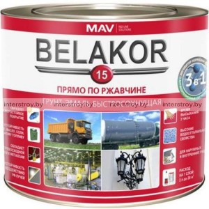 Грунт-эмаль MAV Belakor 15 по металлу RAL 6029 2.4 л Майская зелень